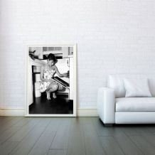 Audrey Hepburn Kitchen Celebrity Icon - Decorative Arts, Prints & Posters,Wall Art Print, Poster Any Size - Black and White Poster